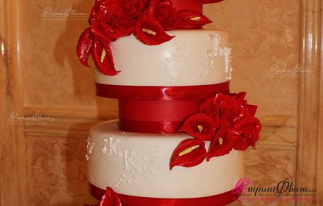 Свадебный торт красно-белого цвета - Anare Cake
