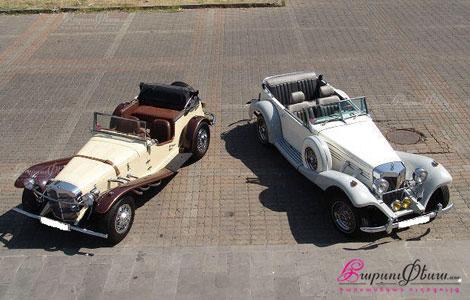 Два красивых ретро кабриолета мерседес для свадьбы
