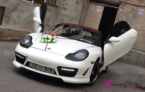 Авто на свадьбу - двухместный Порш кабриолет белого цвета
