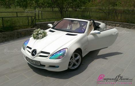 Հարսանյաց մեքենա՝ սպիտակ գույնի մերսեդես կուպե կաբրիոլետ